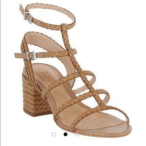 Schutz Claricie Braided Leather Strappy Tan Sandal
